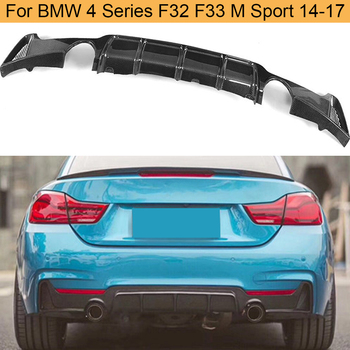 Carbon Fiber Car Rear Bumper Diffuser Lip Spoiler for BMW 4 Series F32 F33 M Sport M Tech 14-17 Cabriolet Black FRP Diffuser image