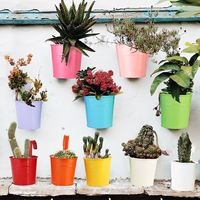 10PCS/Set Metal Bucket Flower Hanging Pot Balcony Garden Pots Plant Flower Holders Wall Hanging Metal Bucket Flower Holder