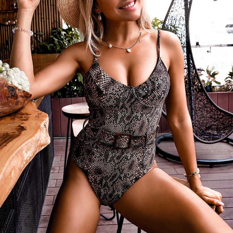 Push up snake print mulher maiô uma peça monokini fivela sexy banho feminino 2020 alta corte bodysuits banhistas maiô