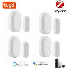 Tuya ZigBee – détecteur intelligent d'ouverture de porte/fenêtre, système d'alarme de sécurité domestique, commande vocale, fonctionne avec Alexa et Google Assistant