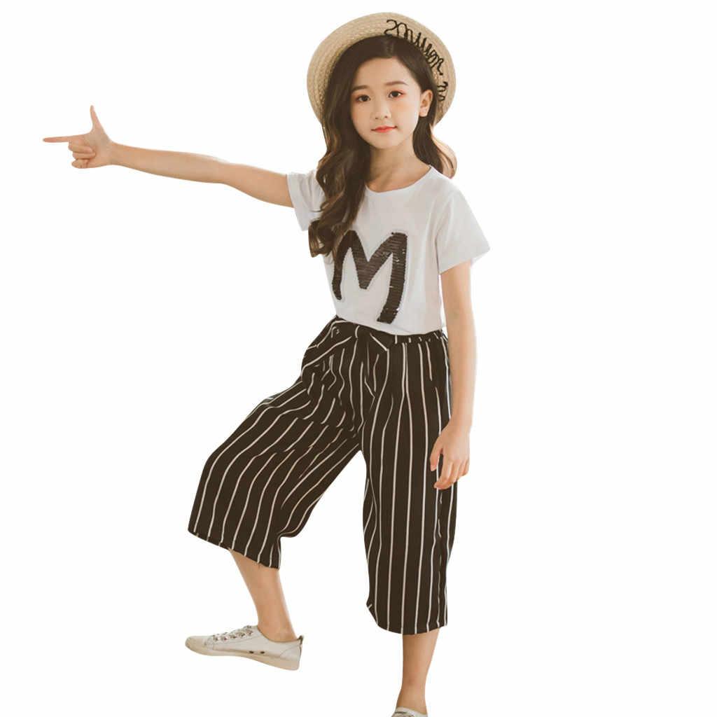 Ropa para niñas adolescentes con letras Camiseta con lentejuelas Tops de manga corta pantalones a rayas conjunto de trajes vestidos de tutú traje para Niñas Ropa
