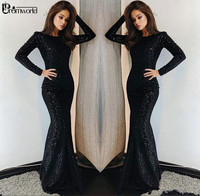 New 2019 Black Sequins Long Sleeves Mermaid Prom Dresses Long Crew Neck Court Train Muslim Formal Evening Dress Party