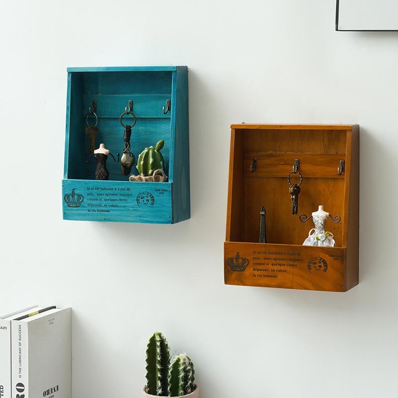 Винтажный деревянный держатель для ключей в европейском стиле, подвесной шкаф для хранения с 3 крючками, Настенный декор ручной работы с дер...
