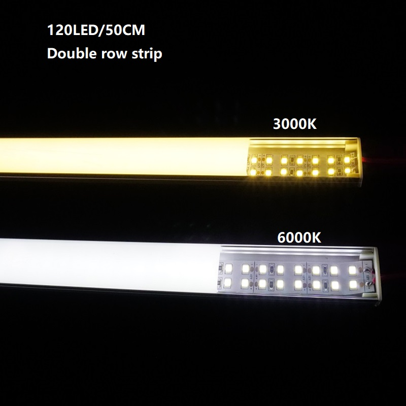 12VDC 50cm 20inch  Led Bar Light,diode Invisible Flat Profile 2835 10W Double Row 240led/meter Tape, 20MM Led Linear Hard Strip