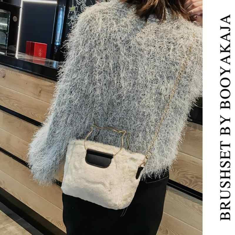 Bolsa de ombro mensageiro de pelúcia feminina bonito bolsa de viagem tote chain crossbody