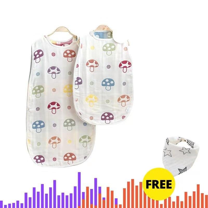 Newborn Baby Sleeping Bag 6 Layers Gauze  Stroller Bed Swaddle Blanket Wrap Bedding Soft Children Vest Sleeping Bag Baby 0-12M