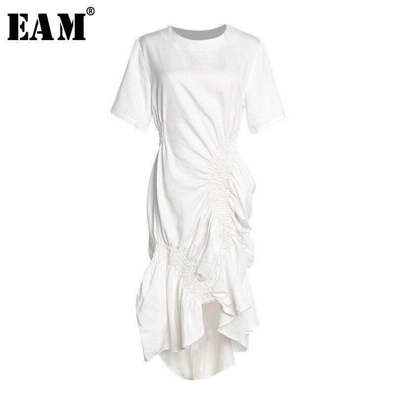 [EAM] 2020 New Spring Summer Round Neck Short Sleeve White Pleated Fold Irregular Stitch Temperament Dress Women Fashion JT205