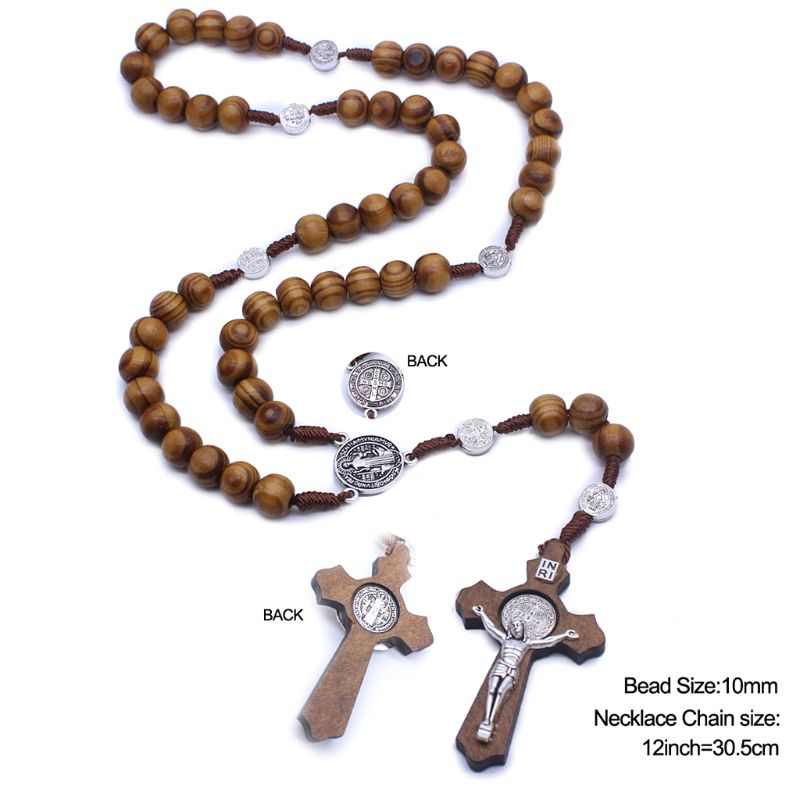 Fashion Handmade Round Bead Catholic Rosary Cross Religious Wood Beads Men Necklace Charm Gift 95AA