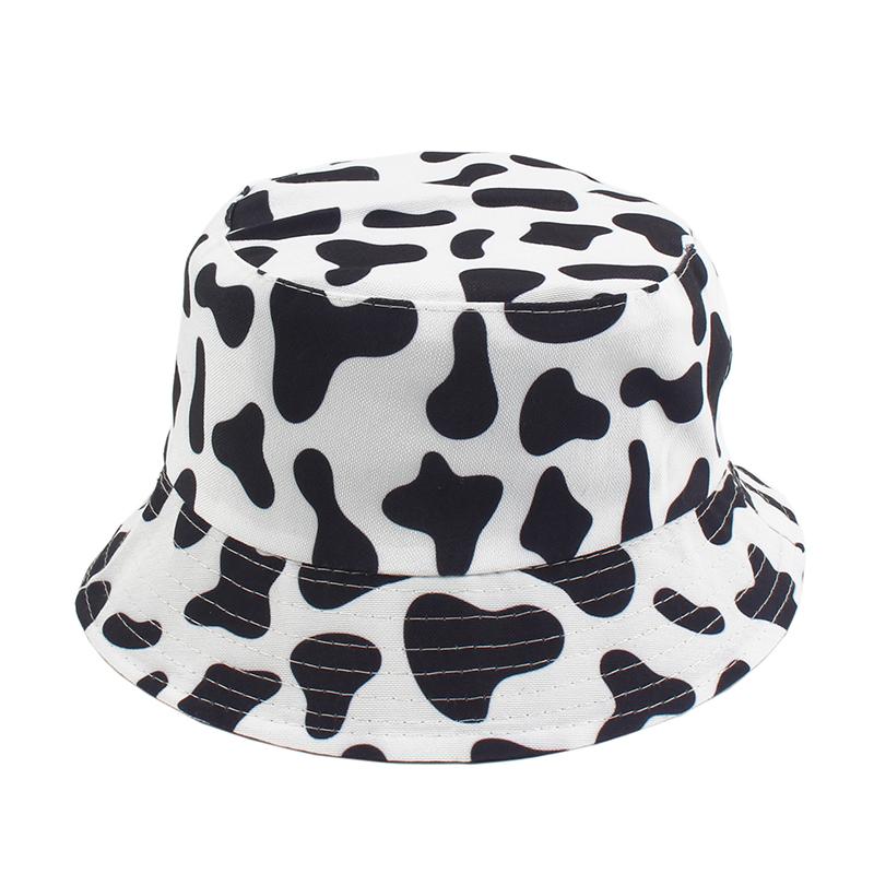 New Fashion Cow Print Hat White Black Bucket Hat Reversible Fisherman Caps Summer Hats For Women Gorras