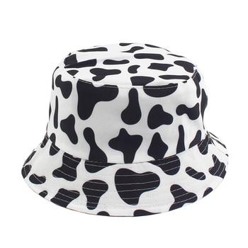 New Fashion Cow Print Hat White Black Bucket Hat Reversible Fisherman Caps Summer Hats For Women Gorras fashion wifi signal pattern bucket hat for men