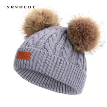 купить 2019 autumn winter 8 color children's hat Pom Pom warm raccoon fur ball cap bean bean hat children cotton knit baby hat winter дешево