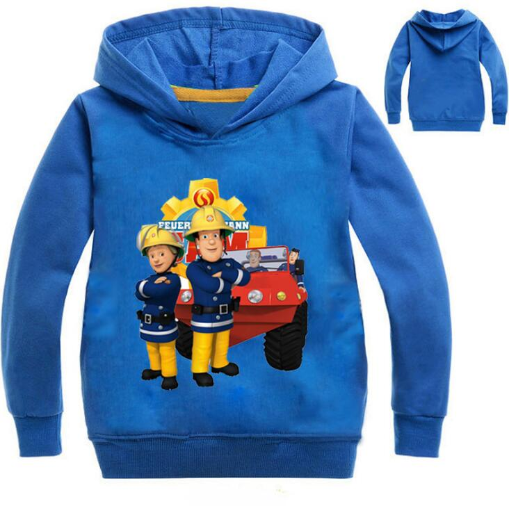 3-16Years Firefighter Fireman Sam Cosplay Costume Clothes <font><b>Nova</b></font> Kids Hooded Coats For Boys Girls <font><b>Clothing</b></font> Print Cartoon Outwear image