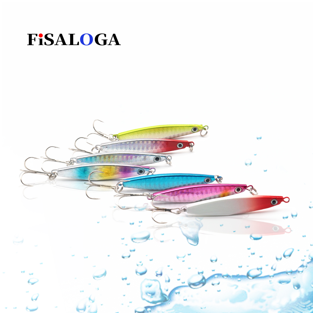 Slow Jigging Metal Jig Lures 14g 21g Lead Baits Casting Shore Fishing Jumping FiSALOGA Tuna Trout Pilker Gift 2 VMC Treble Hooks