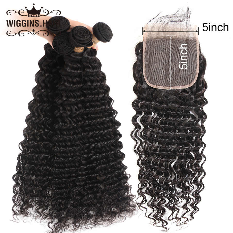 Deep Wave 3 Bundles With 5x5 Closure Wiggins Peruvian Human Hair Bundles With Closure Free Part Remy Hair Natural Color