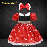 Vestido de Minnie para niño niña, vestido de bebé recién nacido bonito tutú rojo, vestido de lunares 1 2 3 4 5 6 años, traje de cumpleaños para niña, traje de Año Nuevo