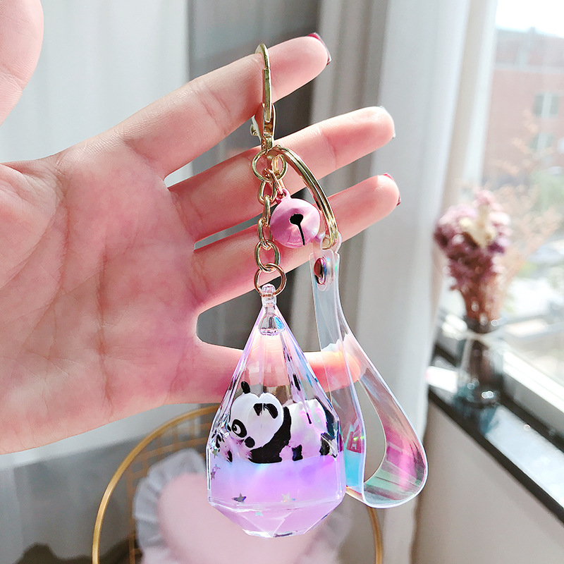 Floating Creative Cute Panda Acrylic Milk Bottle Keychain Moving Liquid Quicksand Drift Bottle Keyring For Women Bag Pendant