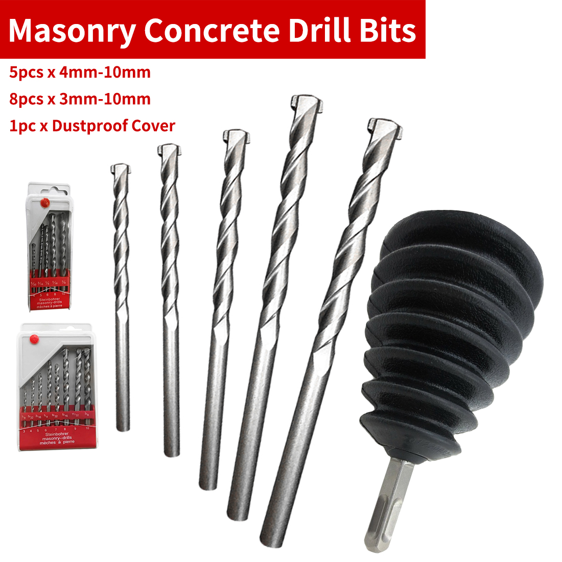 5pcs/8pcs Drill Bit Tool Set Nickel Plating Round Shank Impact For Wall Cement Alloy Concrete Marble 3mm-10mm/4mm-10mm