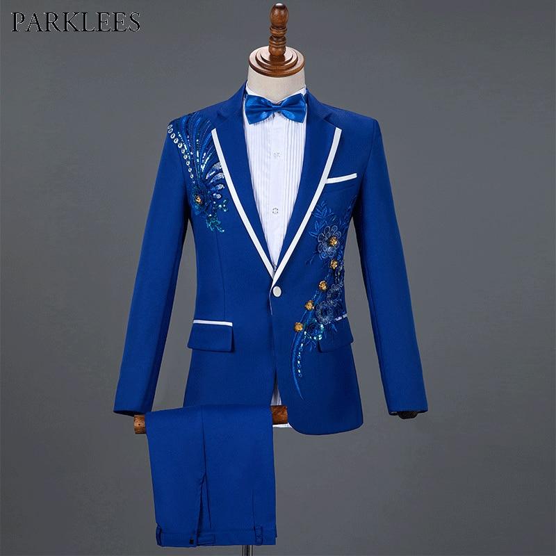 Royal Blue Sequin Embroidery Suit Men Wedding Groom Tuxedo Suits Pants Mens One Button Peak Lapel Stage Costume Traje Hombre 2XL