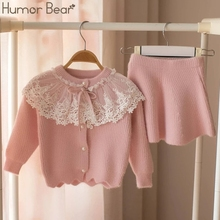 Humor Bear 2019 Autumn Winter Childrens Sweater Set Girls Lace Solid Color Long Sweater +Short Skirt 2PCS Girls Clothes Suit