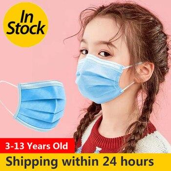 100PCS Children 3 Layer Disposable Masks Elastic Mouth Soft Breathable Blue Soft Breathable Flu Hygiene Child Kids Face Mask