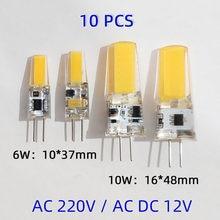 G4 led cob lâmpada 6w 10 lâmpada ac dc12v 220v vela luzes de silicone substituir 30 40 halogênio para lustre spotlight 360 ângulo de feixe