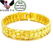 OMHXFC Wholesale European Fashion Man Male Party Birthday Wedding Gift Vintage Elegant Wide Watch 24KT Gold Bracelets BE266(China)