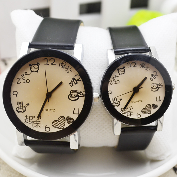 Cute Couple Watches Unique Design Watch Women And Men Parejas Black Clock Leather Strap Fashion Casual Couple's Wristwatches
