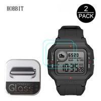 Protector de pantalla de reloj inteligente, película de vidrio templado, 2.5D, 9H, HD, transparente, antiarañazos, para Huami, AMAZFIT Neo, AMAZFIT, A2001, 2 uds.