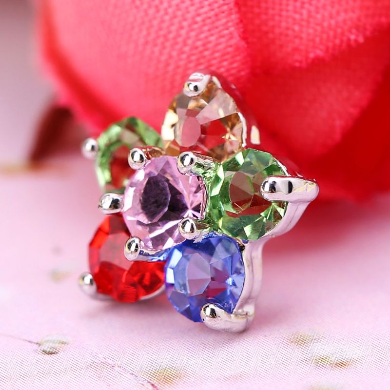 1Pc 1Pc 11mm Glitter Rhinestone Rainbow Five Petals Flower Shape Decorative Buttons With Metal Loop Shank Hole Sewing Clip DIY