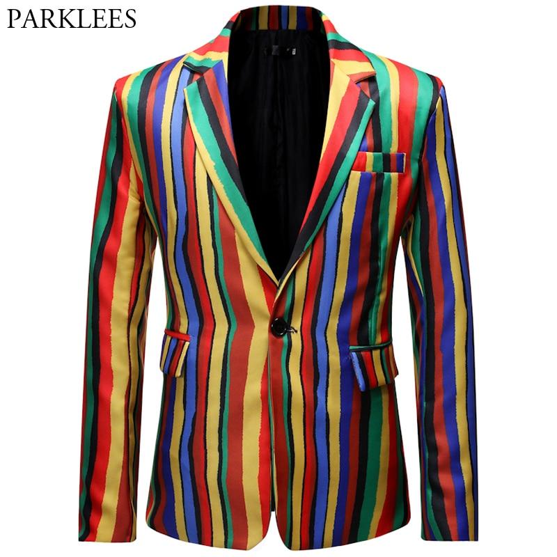 Colourful Rainbow Men Blazer Fashion Graffiti Blazers Mens Vertical Stripe Casual Slim Fit Men Suit Jacket Stage Costumes Homme