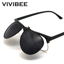 Vivibee 2020 novo flip up clip em óculos de sol polarizados homem condução piloto lente de visão noturna óculos de sol anti-uva uvb