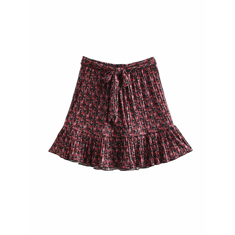 2019 Spring New Style Western Style Waist Belt Floral-Print Pleat Hem Flounced Short Skirt Skirt Women's