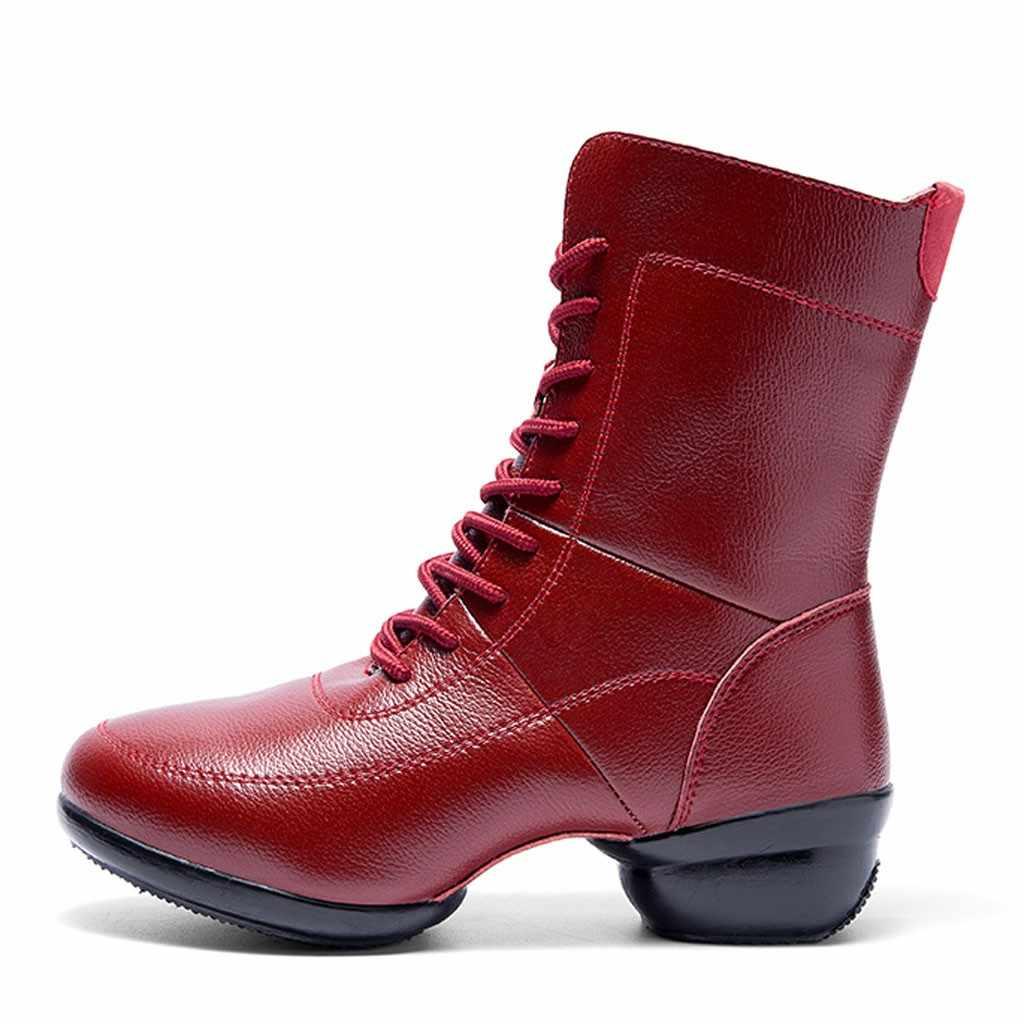 Süper Sıcak Kadın Martin Çizmeler Peluş astar Çizmeler Vintage Kayış Kar yarım çizmeler Kış Spor dans ayakkabıları