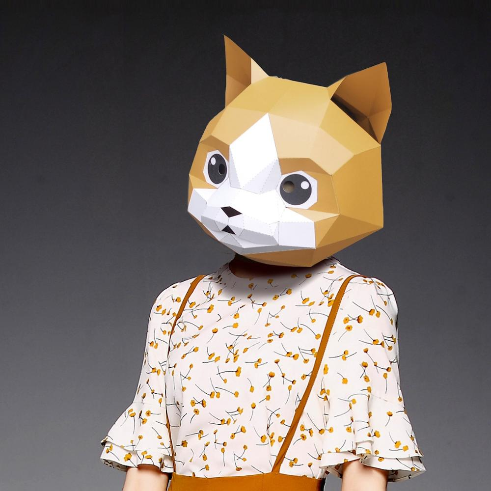 3D Paper Mask Fashion Cat Kitten Animal Costume Cosplay DIY Paper Craft Model Mask Christmas Halloween Prom Party Gift