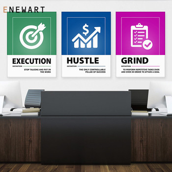 Canvas Painting Wall Art for Office Decoration Hustle Prints and Posters Motivational Quote Definition Modern Company Decor image