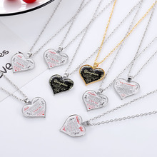 Send Your Daughter A Warm and Meaningful Family Heart-shaped Alloy Necklace Pendant Jewelry Gift 2020 New