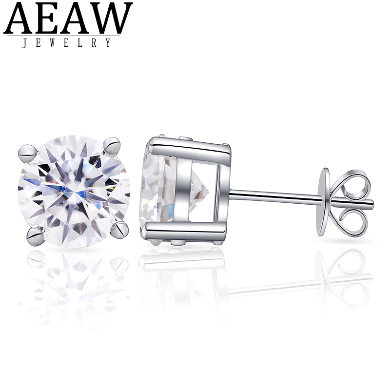 D Color 4ctw 2.0Carat 8.0mm Round Excellent Cut Moissanite Diamond Earring Stud Push Back Solid Real 18K White Gold Fine Jewelry