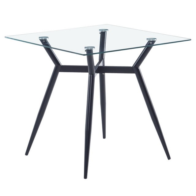80*80*75cm Glass Dining Table Set 44*53*96cm 4pcs Dining Chair for Most living room Balcony or Dining room 4