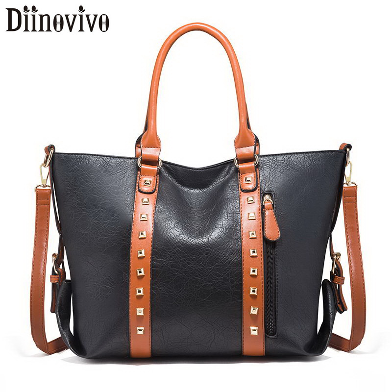 DIINOVIVO Panelled Rivet Design Bag Women Shoulder Large Capacity Handbags Totes Fashion Messenger WHDV1235