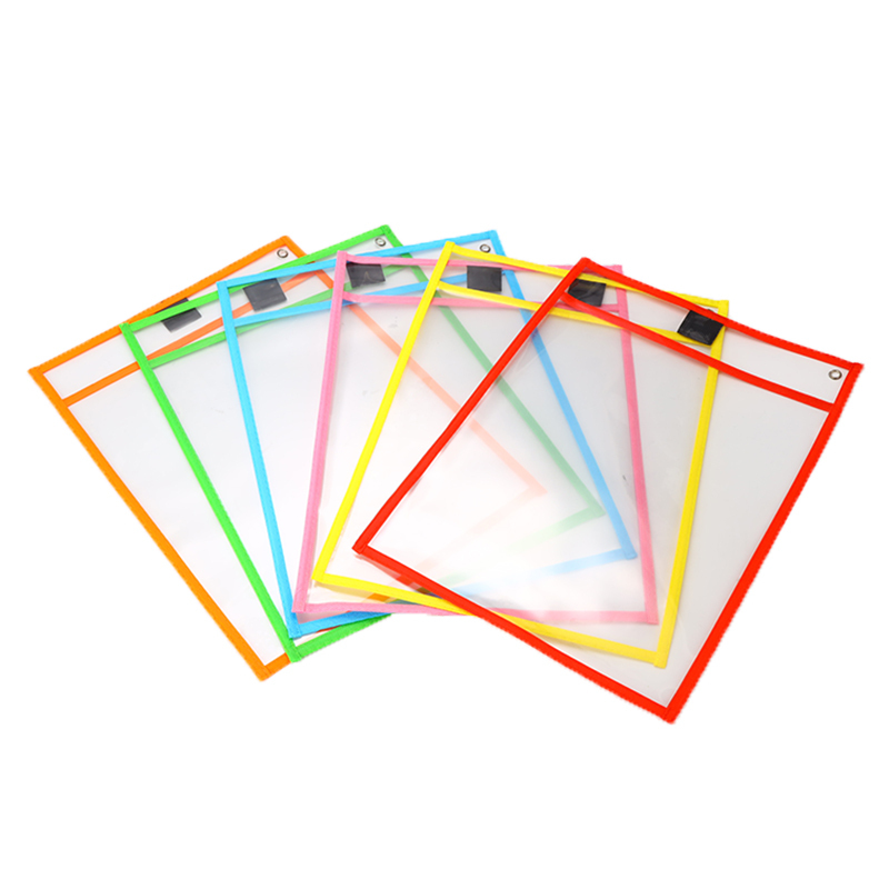 6Pcs/Set Kids Transparent Write And Wipe Pockets Reusable Dry Erase Pockets Sleeves 6 Colors With Pen Holder Storage Supplies
