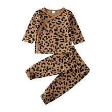 Autumn Winter Leopard Newborn Baby Girl Boy Clothes Cotton Button Tops Leggings Pants Outfits 0-24M(China)