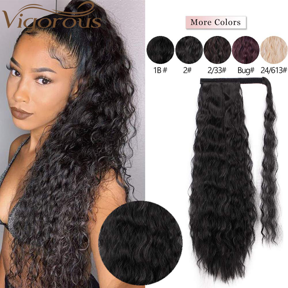 Vigorous Corn Wave Ponytail Extension Wrap Around Ponytail Extensions Long Black Wavy Synthetic Magic Paste Ponytail Hair Piece