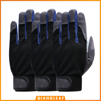 QIANGLEAF 3pcs Work Gloves Black White Stitching Safety Protection Wear Glove Hiking Bicycle Bike Cycling Winter Gloves 2710 qiangleaf 3pcs new free shipping protection glove d grade cowhide yellow ultrathin leather safety work gloves wholesale 527np