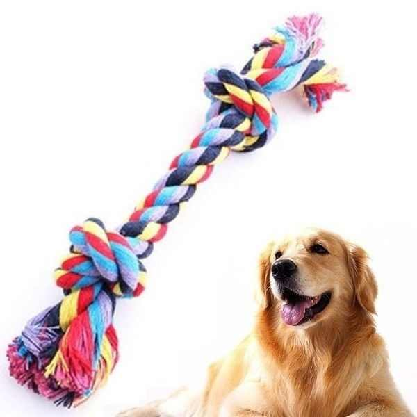 Colorful Double Knot Toy for Small Large Dogs Cats Dog Trainging Durable Chew Toys Puppy Braided Cotton Rope Molar Pet Supplies