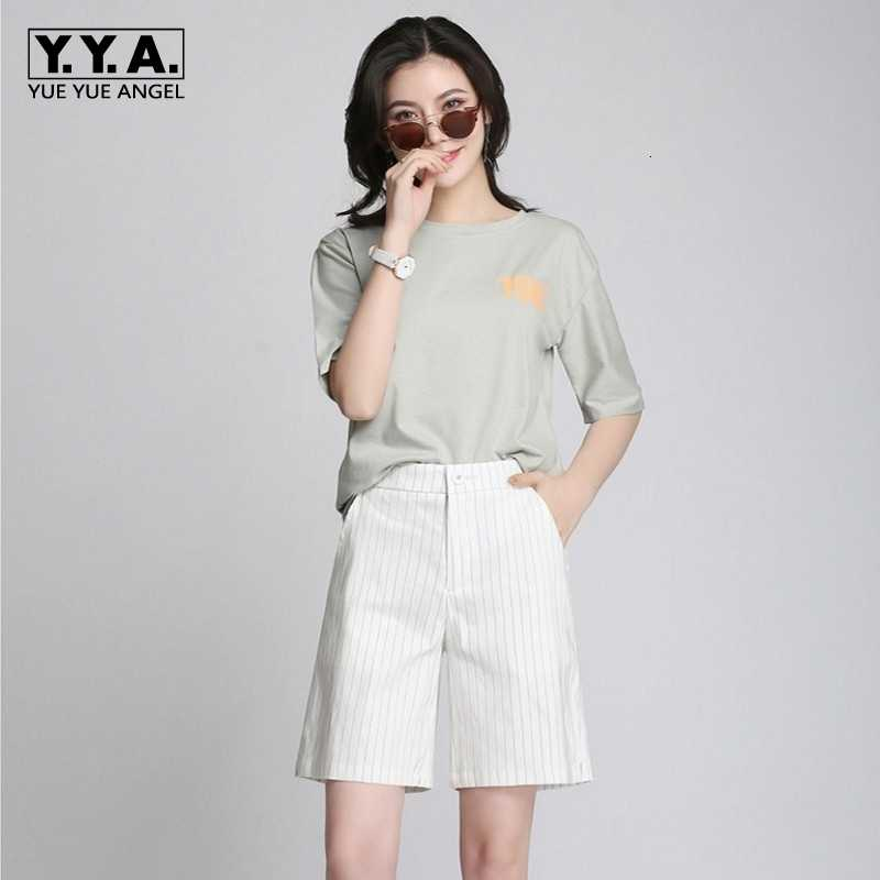 2020 New Summer Womens Shorts Fashion Korean Striped Wide Leg Female Shorts Casual Linen Loose Fit Bermudas Feminina Plus Size