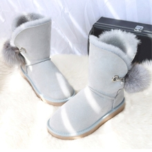 G&Zaco Winter Boots Women Genuine Sheepskin Leather Boots Fox Ball Mid-Calf G Wool Snow Boots Fur Flat Warm Women's Sheep Shoes цены онлайн