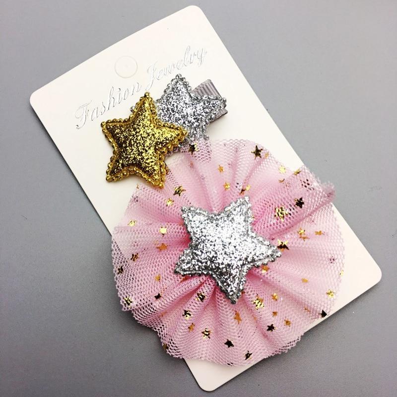 Yanais 10set/lot Wholesale Glitter Star BB Hair Clips Girls Cute Fabric Hairpin Hairgrips Accessories