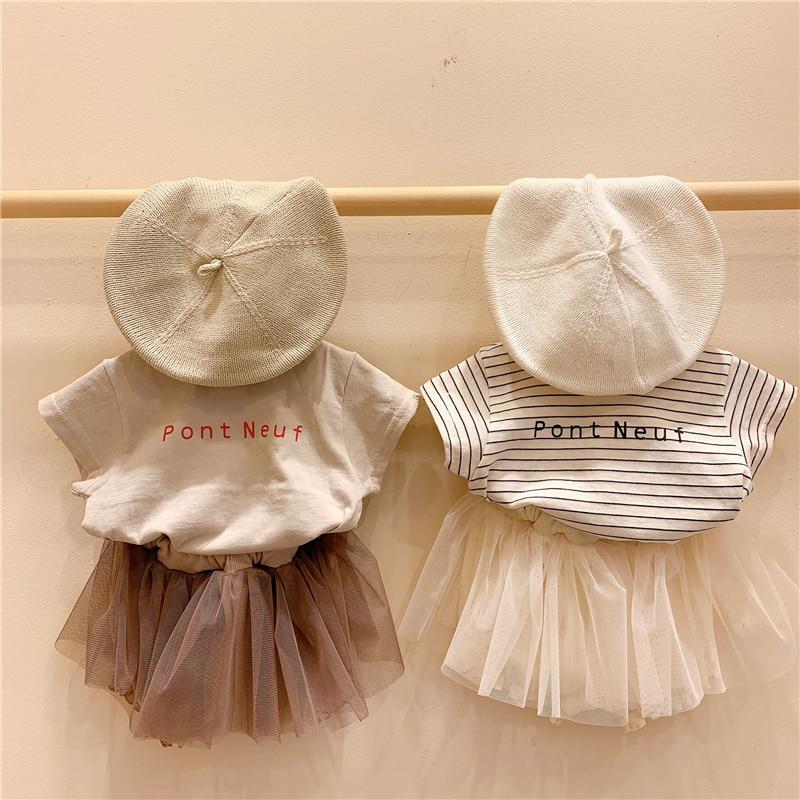 2020 New Summer Girls Clothes Sets Baby T-shirt Girls Tutu Skirts Children Clothing Set Fashion Kids Suits