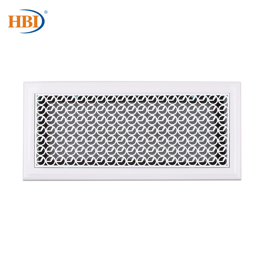 500mm X 200mm Circle-Pattern White Rectangular Plastic Frame Steel Decorative Return Air Grille Vent Retro Style Air Register