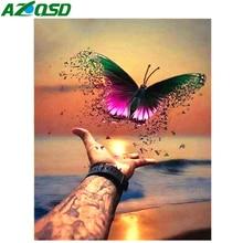 AZQSD 5D DIY Diamond Mosaic Landscape Butterfly Painting Handmade Embroidery Gift Sewing Home Decoration Art